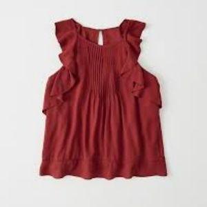 NWT Abercrombie Red Ruffle Sleeveless Blouse